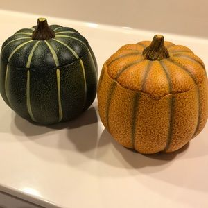 2 Ceramic Fall Pumpkins.